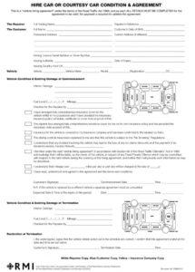 this is the pmm0016  hire car condition & agreement form pad  rmi webshop car hire contract template