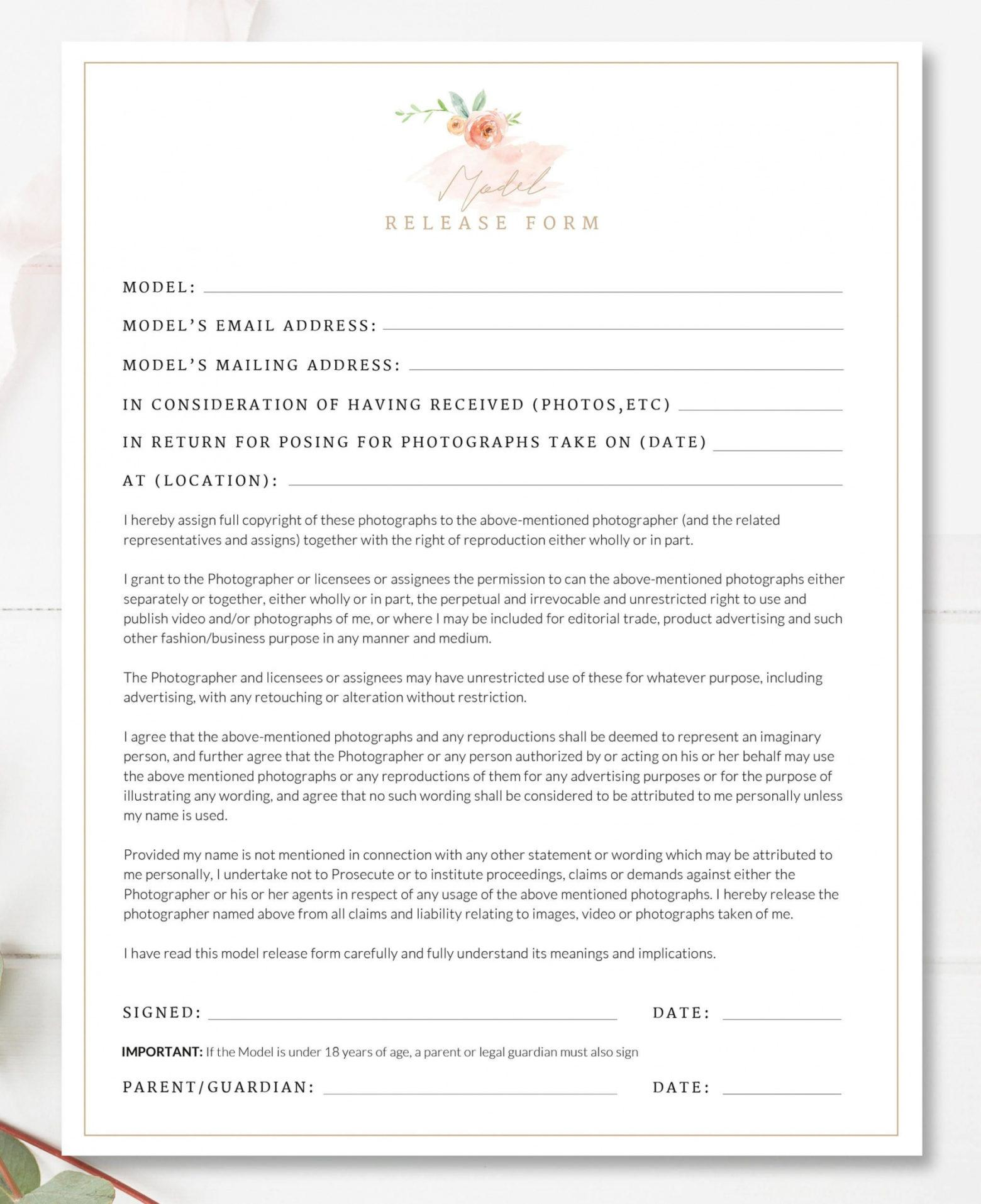 this is the printable photography contract, model release, permission form senior portrait photography contract template