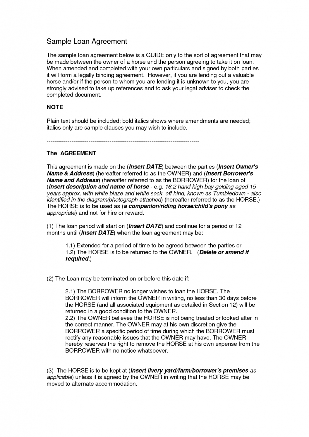 this is the printable sample loan contract template form  laywers template travel franchise agreement sample
