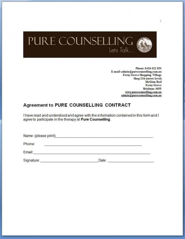 this is the pure counselling contract  pure counselling counselling contract agreement