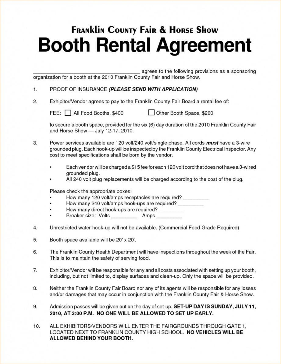 this is the vendor rental agreement template  lostranquillos vendor booth contract template
