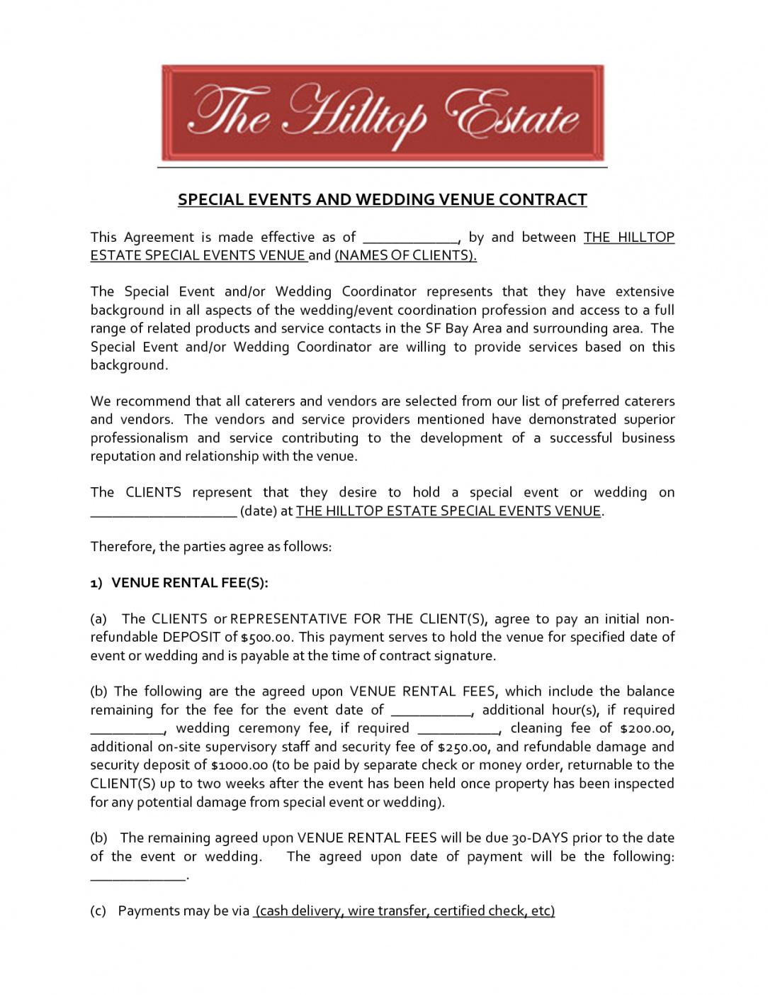 this is the wedding venue contract template  emmamcintyrephotography event venue contract sample