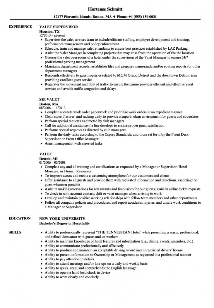 valet resume samples  velvet jobs valet parking contract template