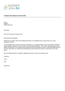5+ welcome letter to new employee  sony asong new employee welcome letter sample template pdf