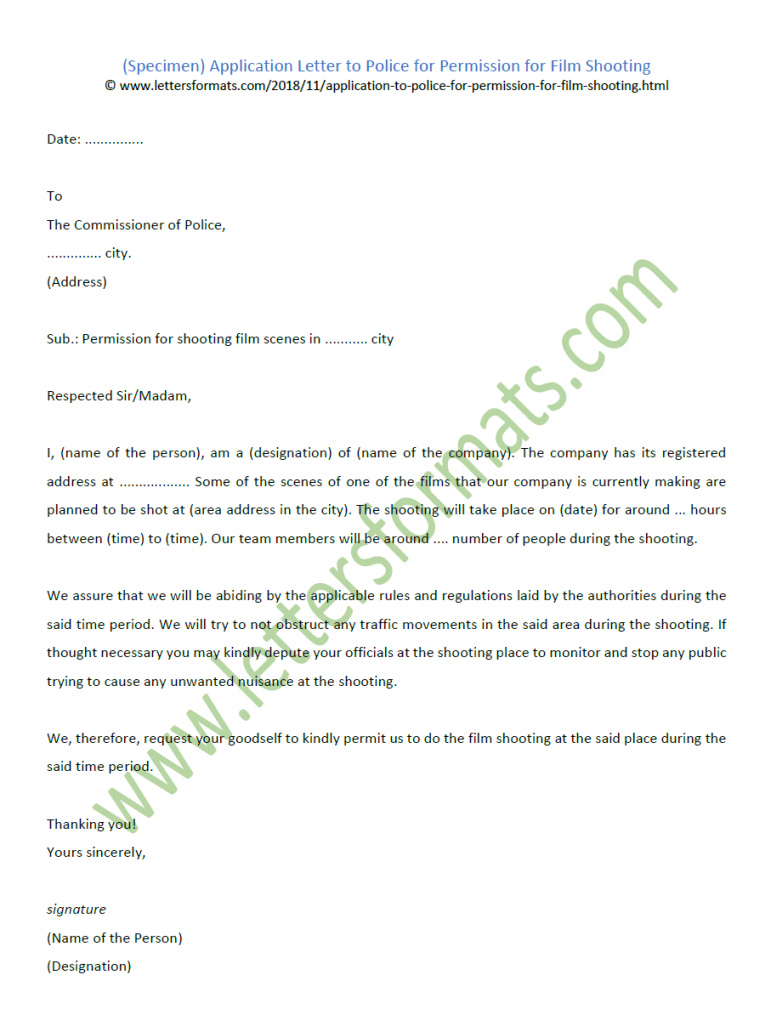 application letter to police for permission for film shooting (sample) shooting permission letter template
