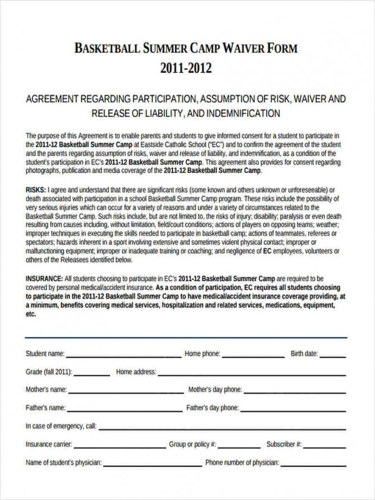 basketball waiver form  8 free documents in word, pdf basketball player contract template