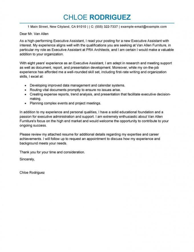 best executive assistant cover letter examples  livecareer personal assistant cover letter template