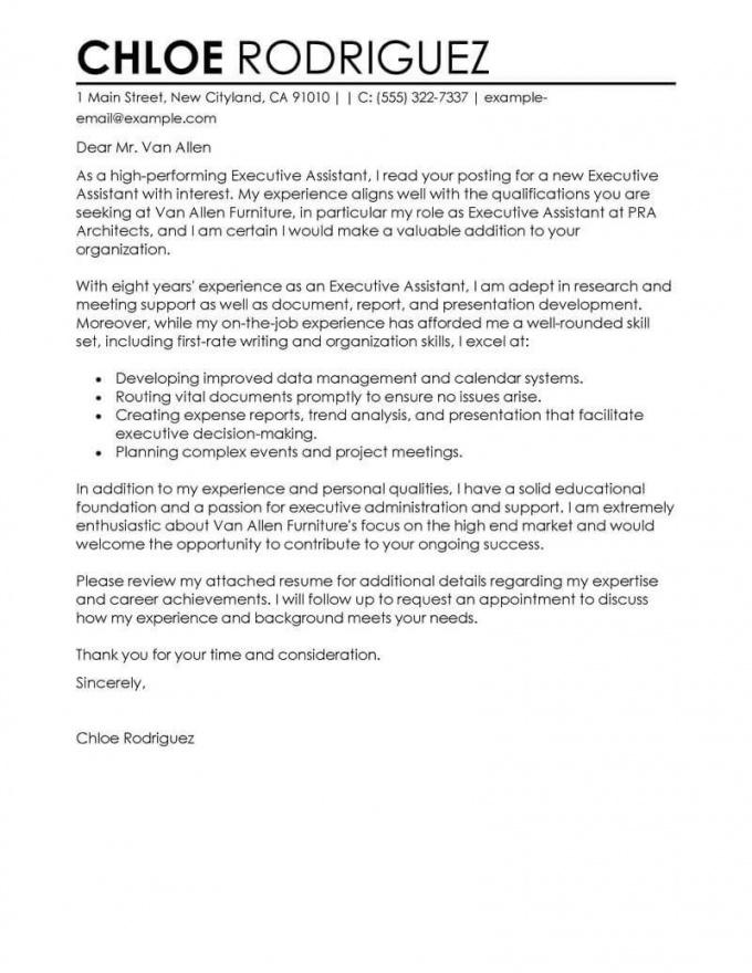 Cover Letter Template Executive Assistant 2Cover Letter Template ...