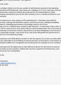 editable administrative assistant cover letter examples administrative assistant cover letter template