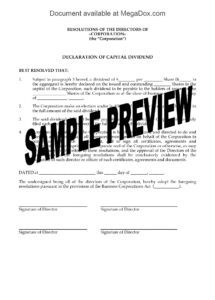 editable canada directors resolution declaring capital dividend  legal forms dividend letter to shareholders template