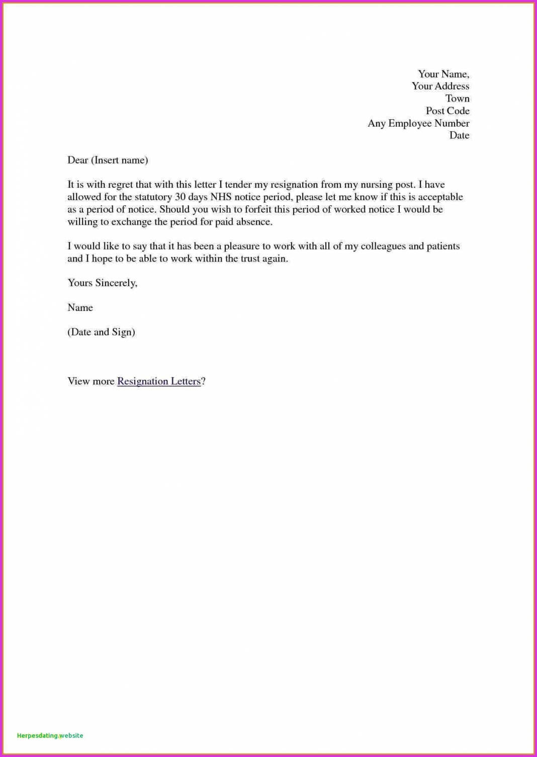editable letter format nursing resignation for trust best fresh rn template nurse resignation letter template