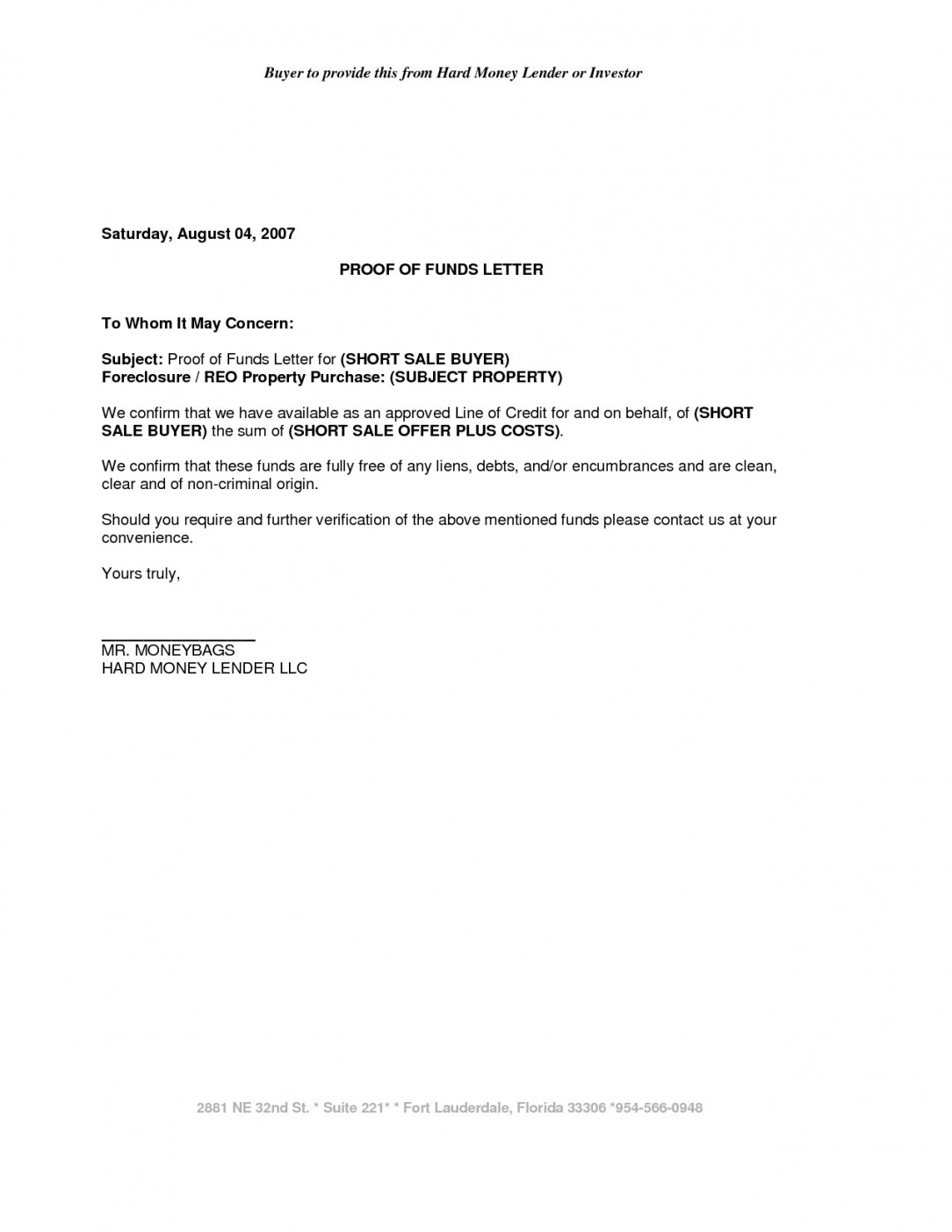 Editable Sample Proof Of Funds Letter Template Examples Letter