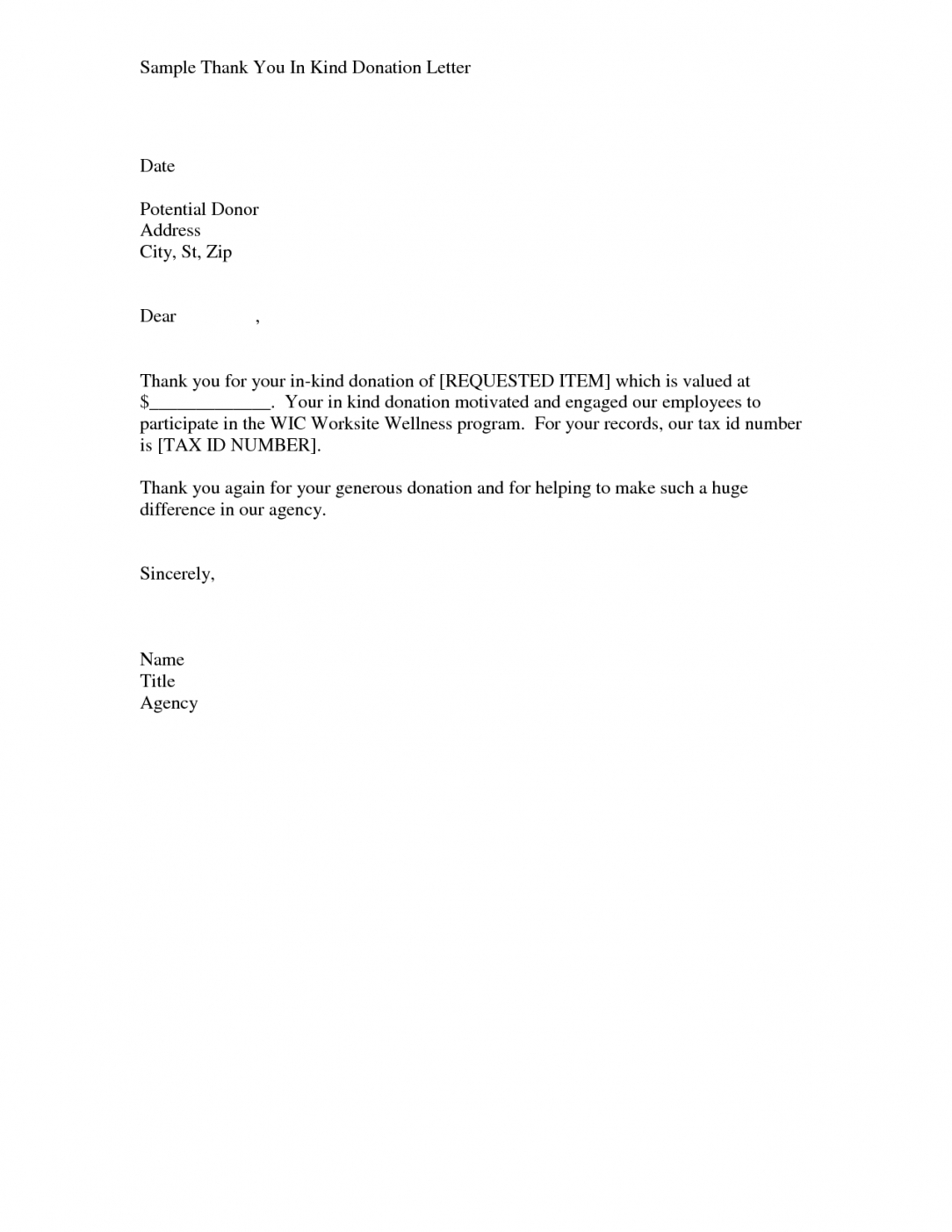 editable thanks letter for non profit donation  sample in kind donation donation in kind letter template doc
