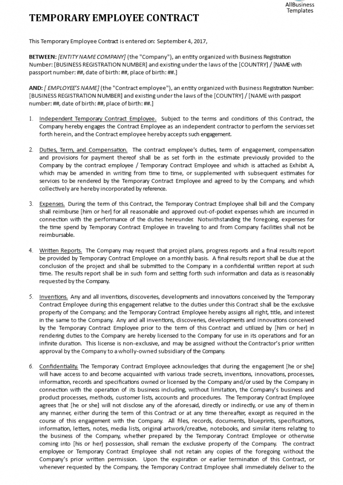 employment contract template  templates at allbusinesstemplates temporary worker contract template