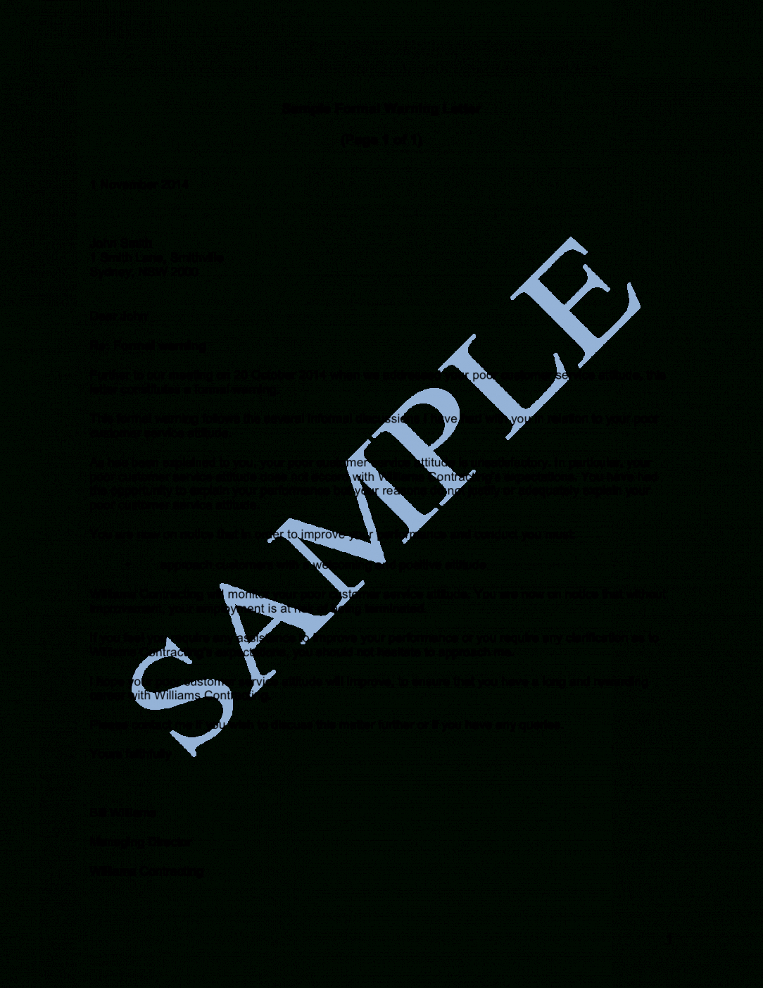formal warning letter sample  lawpath franchise agreement letter sample