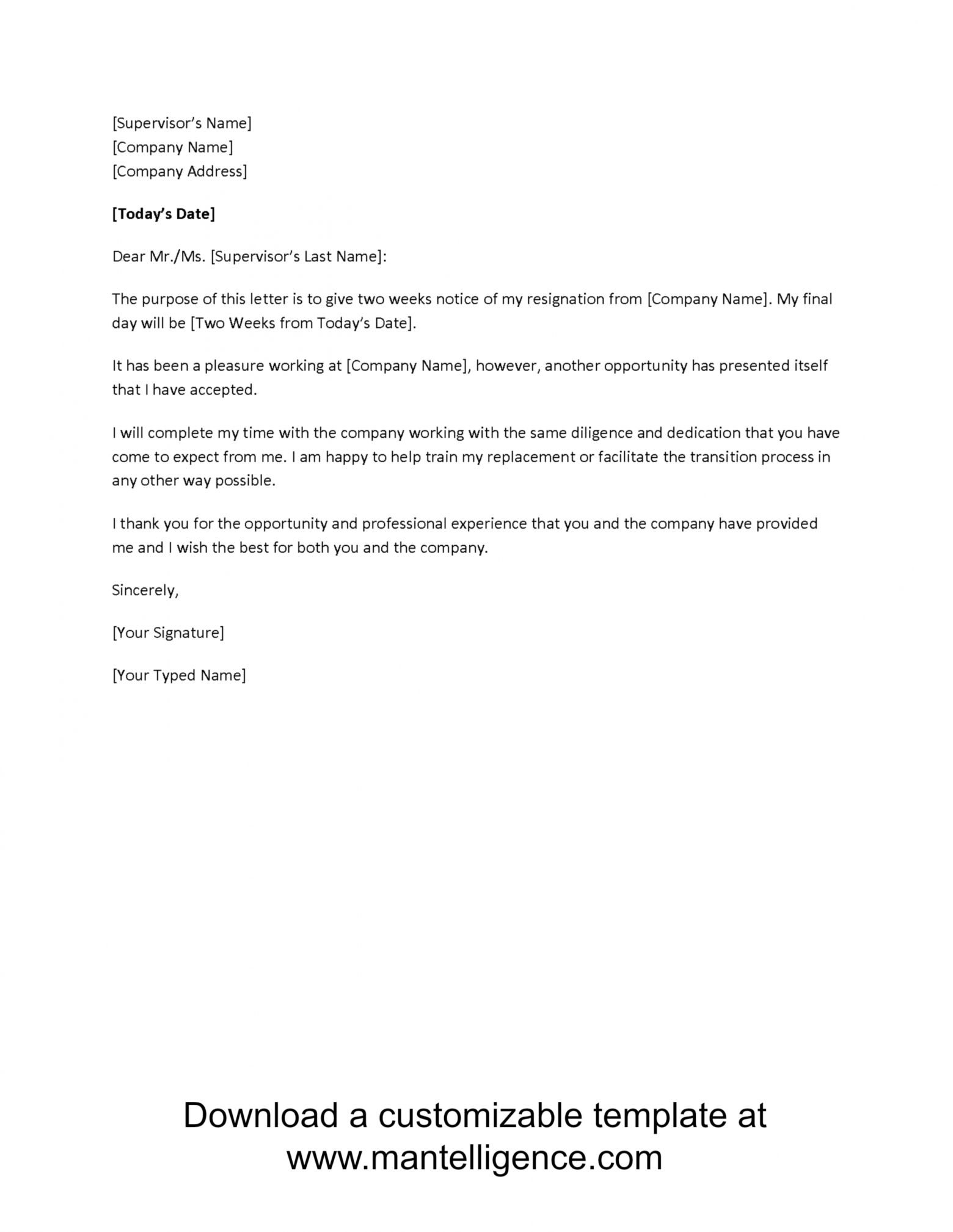 free 3 highly professional two weeks notice letter templates  eagan two weeks notice letter template doc