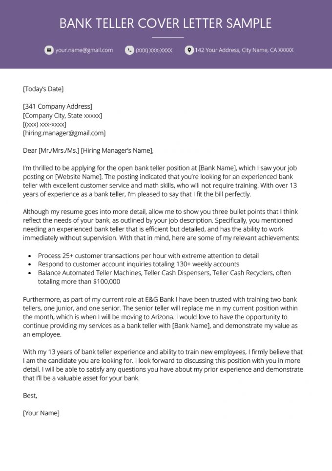free bank teller cover letter example  resume genius banking cover letter template