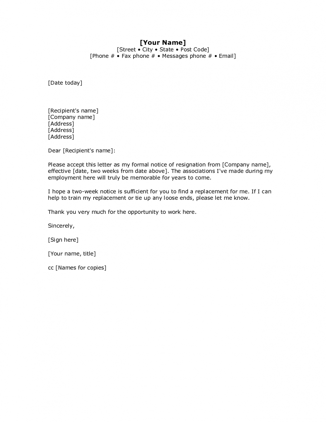 free basic resignation letter template sample two weeks notice letter template sample