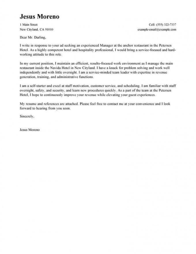 free best hotel & hospitality cover letter examples  livecareer hospitality cover letter template