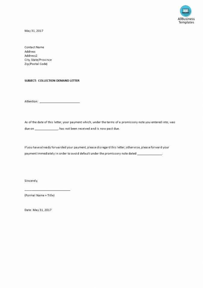 free collection demand example  templates at allbusinesstemplates formal demand for payment letter template doc
