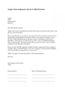 free donation acknowledgement letter template download donation in kind letter template