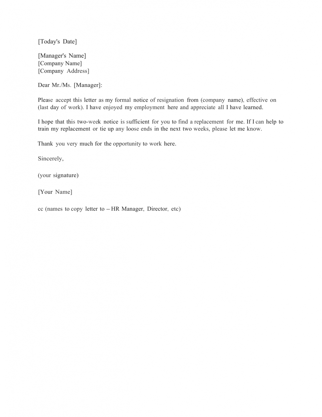 free download standard two (2) weeks notice letter template and sample two weeks notice letter template