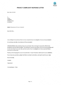 free gdpr privacy complaint response letter  templates at patient complaint response letter template sample