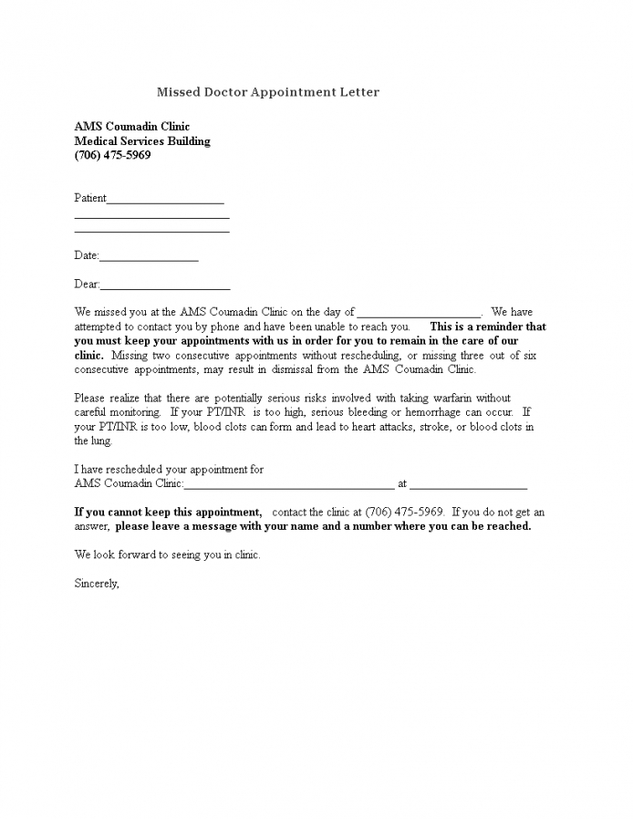 free missed doctor appointment letter to patient  templates at patient missed appointment letter template sample