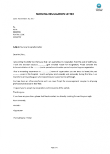 free nursing resignation letter  templates at allbusinesstemplates nurse resignation letter template