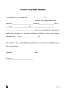 free promissory note (loan) release form  word  pdf  eforms loan satisfaction letter template doc