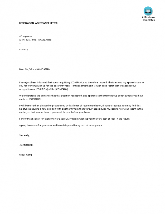 free resignation acceptance letter template  templates at accepting resignation letter template