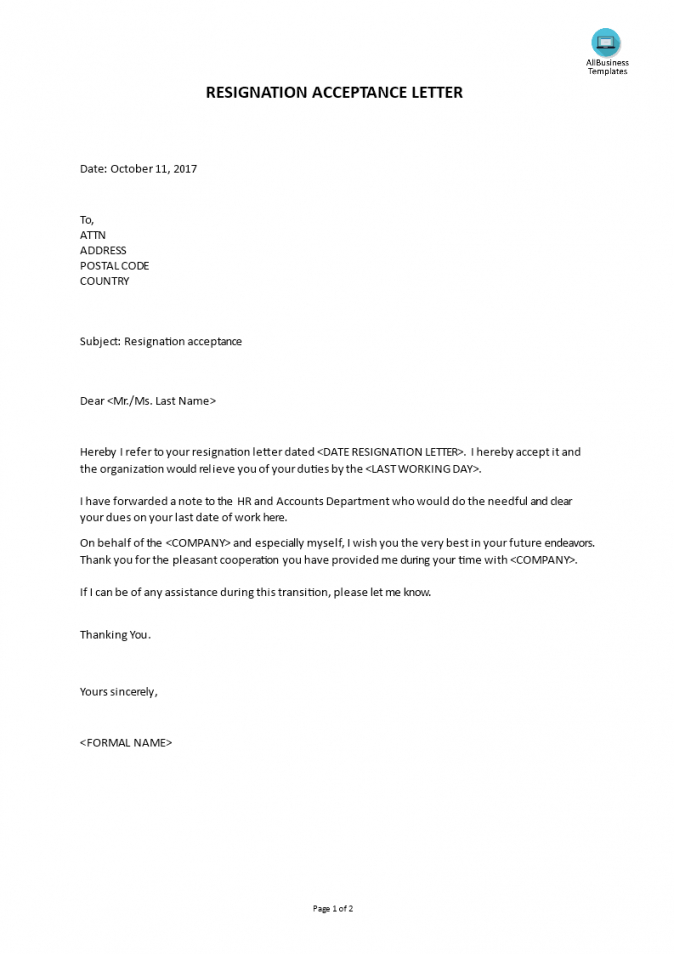 free sample resignation acceptance letter  templates at accepting resignation letter template