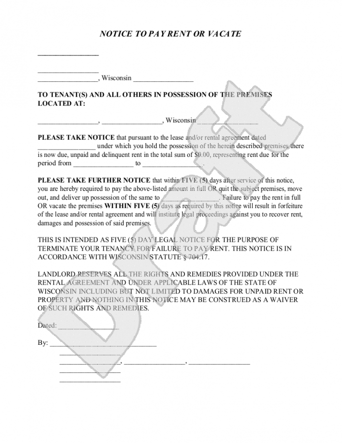 Free Sample Wisconsin Eviction Notice Form Template Landlord Letter