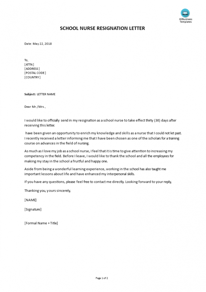 free school nurse resignation letter  templates at nurse resignation letter template