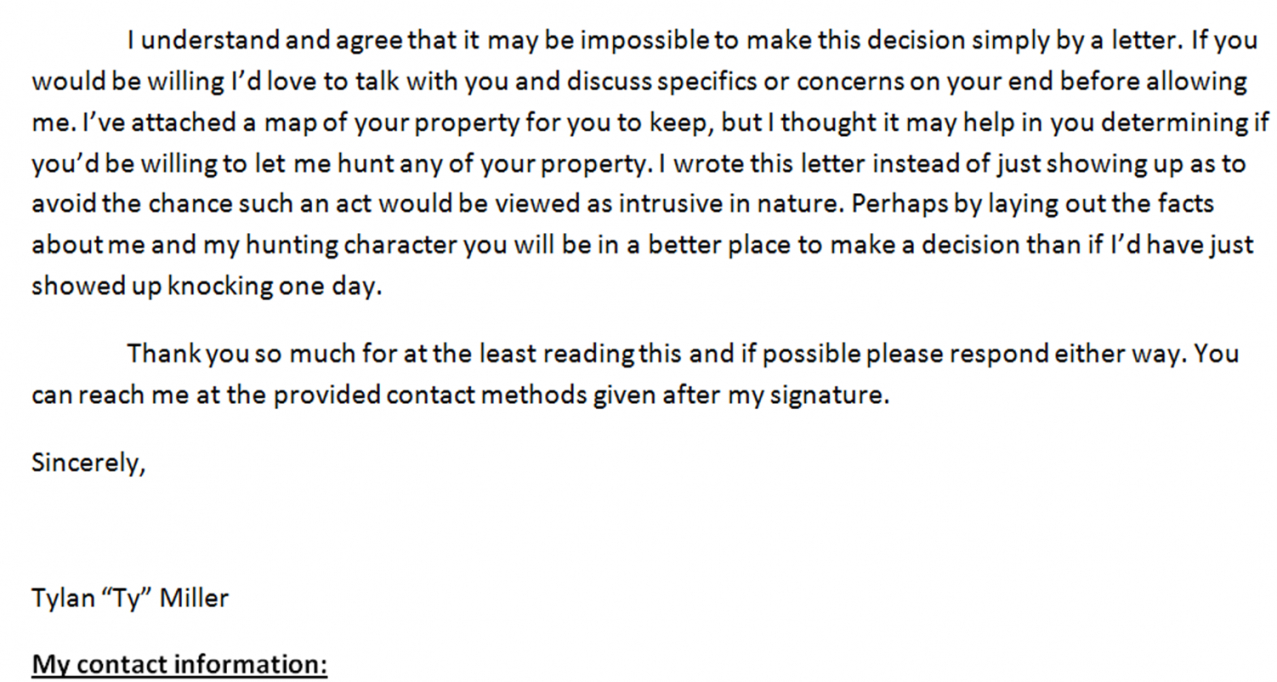 """free small acre hunting: writing a """"can i hunt letter"""" hunting permission letter template sample"""