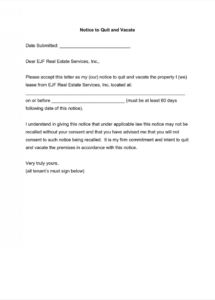 free valid sample end of tenancy notice letter  tinplateco tenancy notice letter template pdf