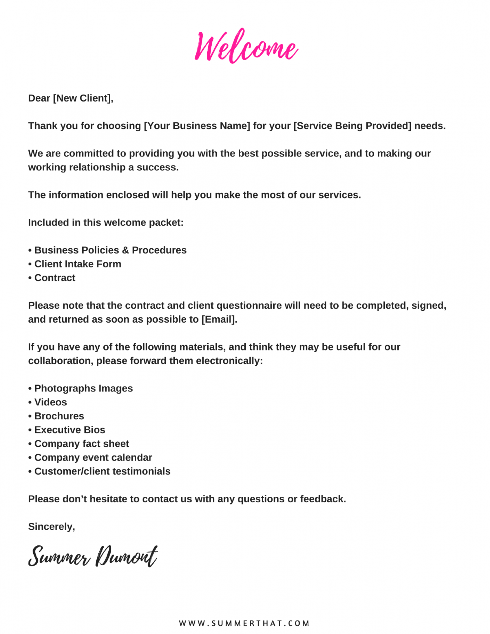 free virtual assistant welcome packet and contract  va new client welcome letter template