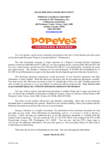 here the franchise disclosure document for popeyes franchise disclosure agreement sample