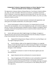 here the independent contractor agreement between an owner operator company truck driver contract agreement