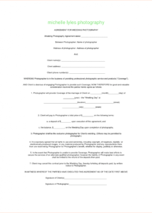 here the sample wedding contracts  turamansiondelrioco photography client contract template