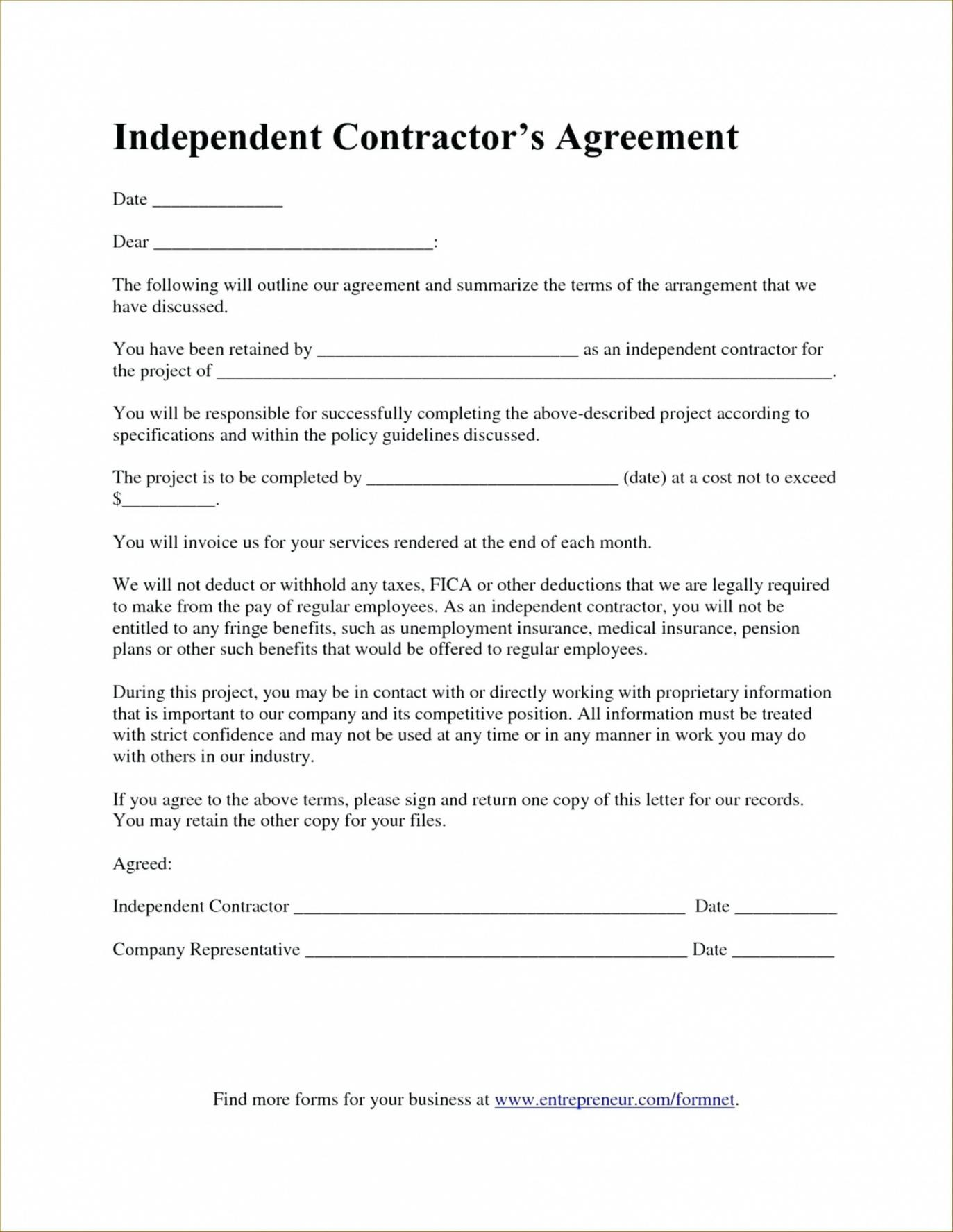 Independent Contractor Agreement Florida Contract Form Pdf