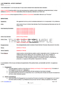 live promoter  artist contract template manager artist contract agreement