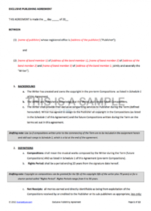music publishing contract template band member contract template
