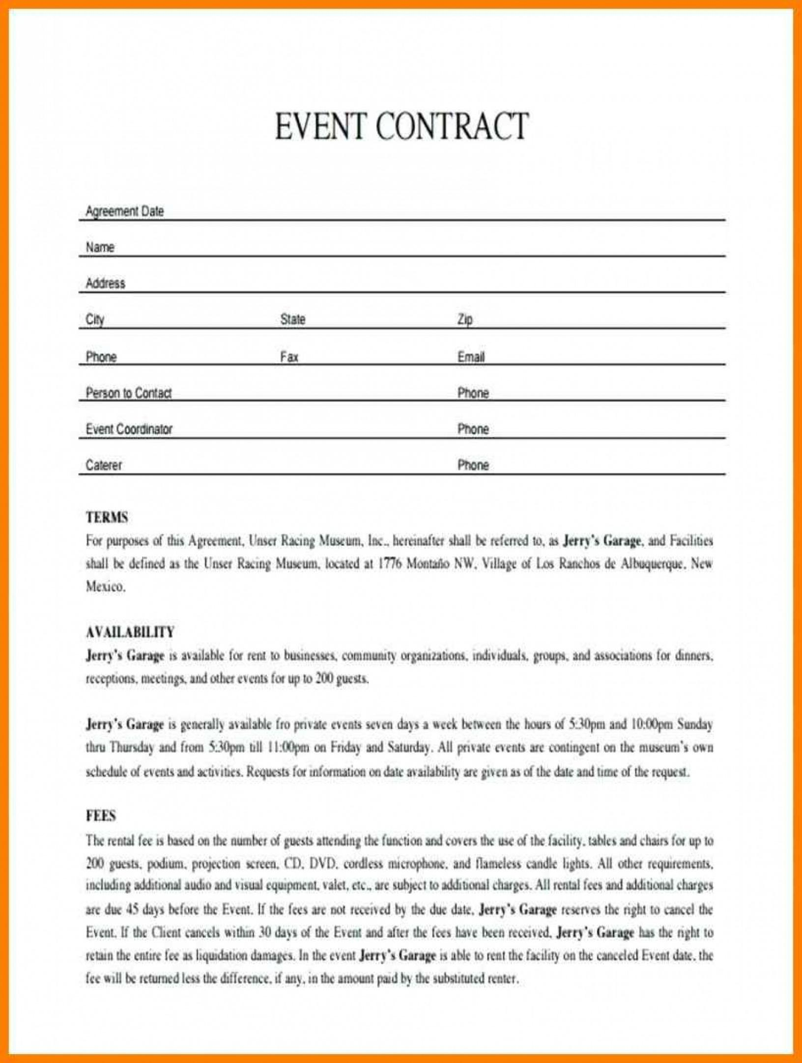 our 011 plan template event contract sample contracts for planners event management contract agreement sample