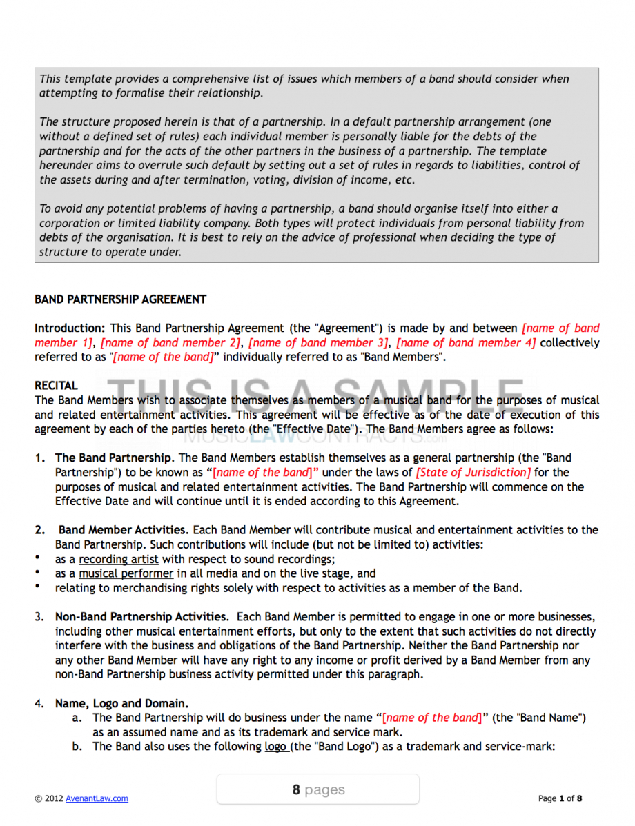 our band agreement template band member contract template