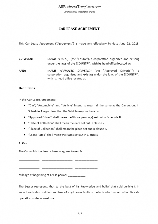 our car lease agreement with car owner  templates at agreement between driver and owner