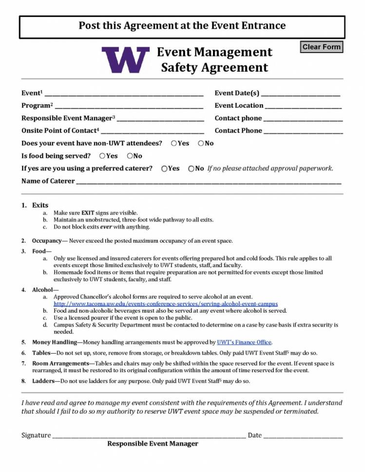 our event management safety agreement  uw tacoma event management contract agreement sample
