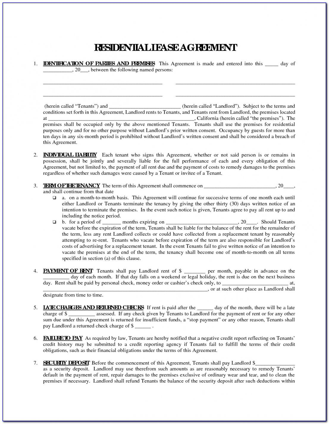 Our Free Printable Rental Agreement Forms In Spanish Form