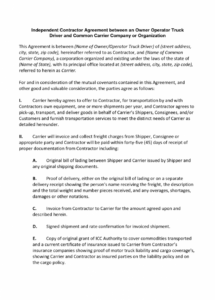 our independent contractor agreement between an owner operator owner operator driver agreement