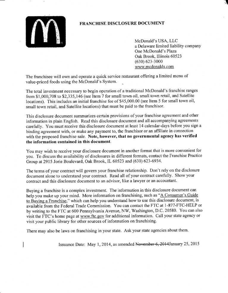 our mcdonald's franchise disclosure document (fdd) pdf  franchise franchise agreement sample retail